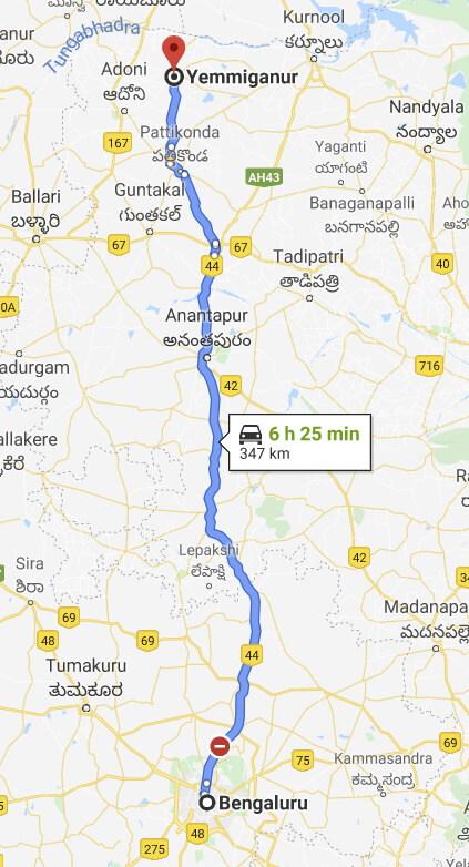 Bengaluru to Yemmiganur via Anantapur